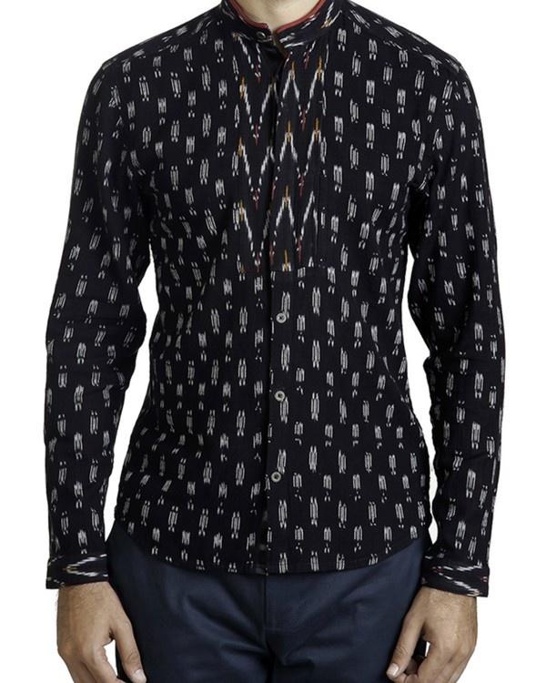 Black ikat safe pocket shirt