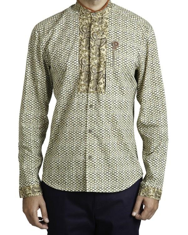 Beige khadi print safe pocket shirt