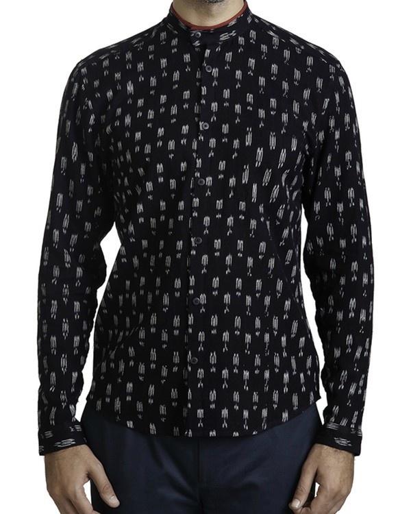 Black ikat slim fit shirt