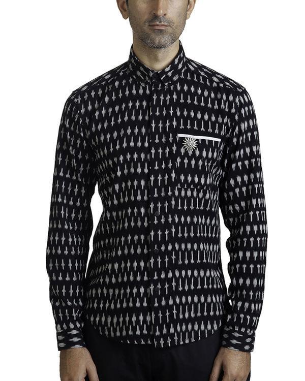 Black ikat button-down shirt