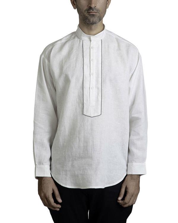 White linen tunic shirt