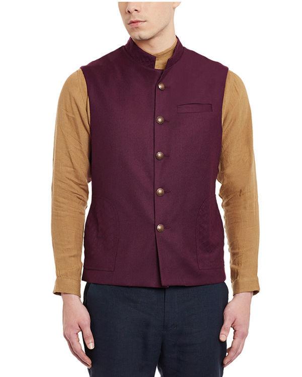 Wine woollen slim fit nehru jacket