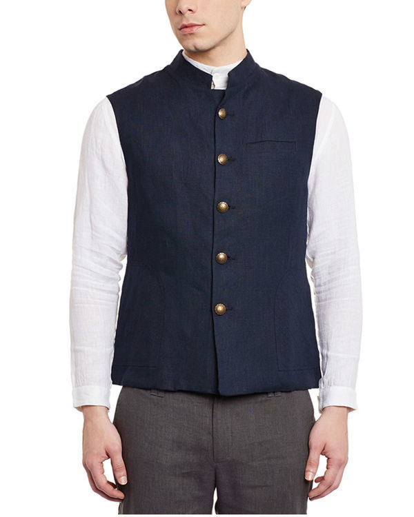 Navy blue linen slim fit nehru jacket