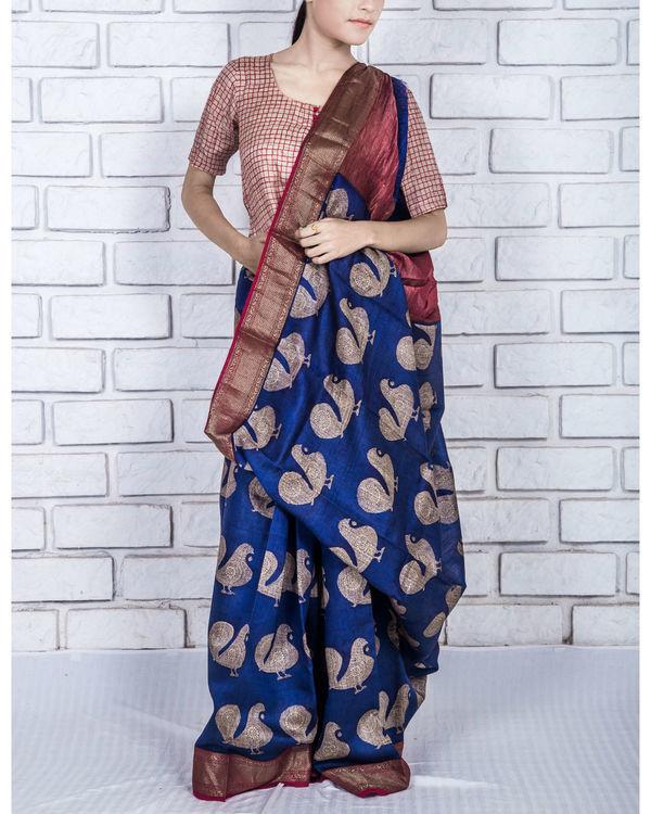 Persian blue drape sari