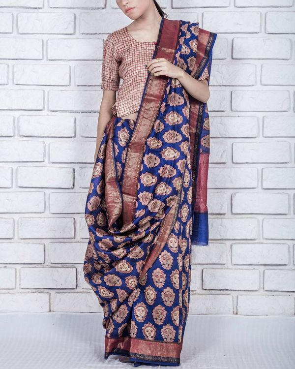 Royal blue drape sari
