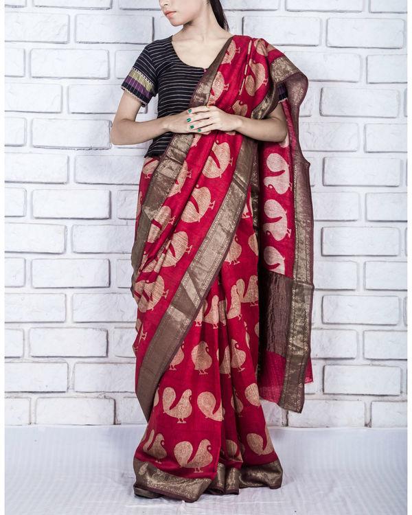 Fiery red drape sari
