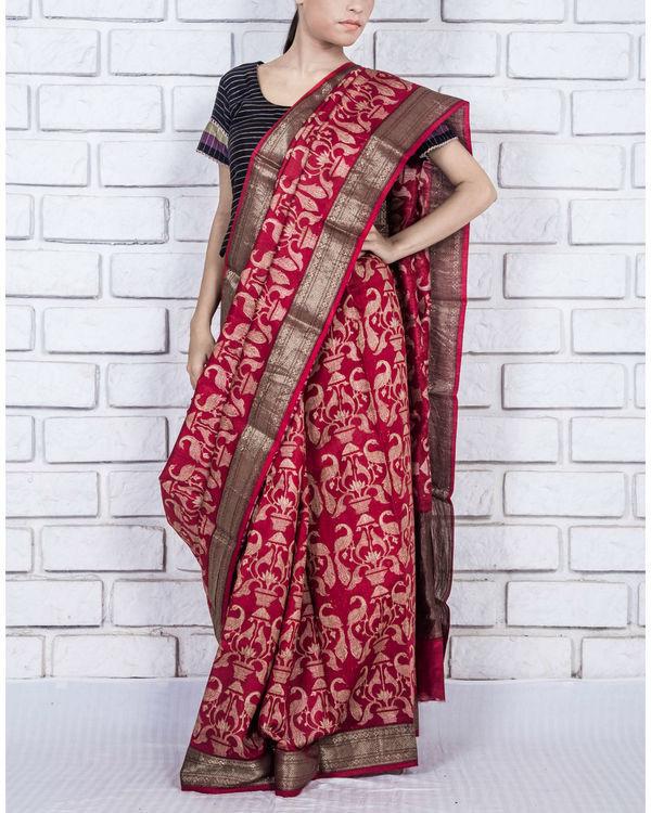 Royal red drape sari