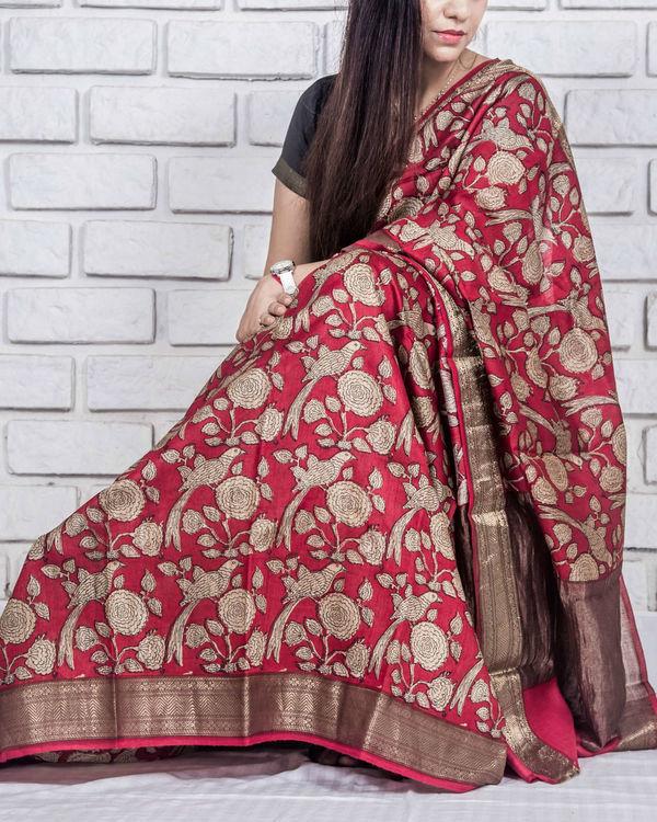 Carmine red drape sari