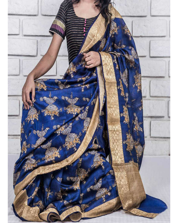 Royal blue and gold drape sari