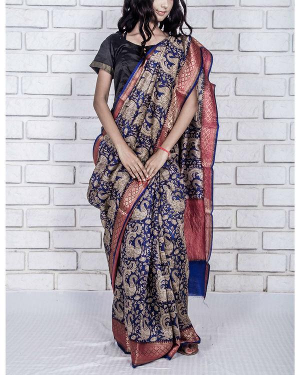 Navy blue munga drape sari