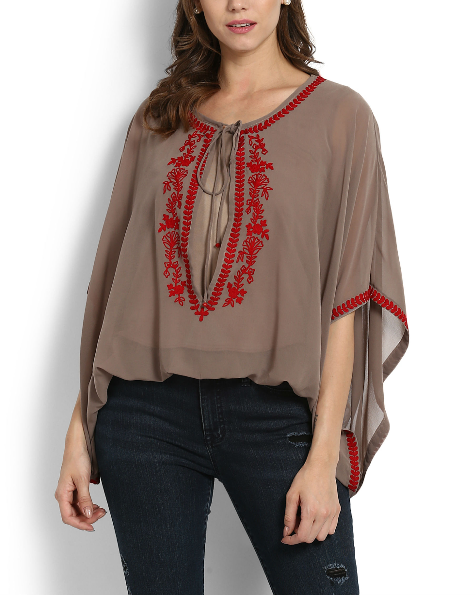 Kutch embroidered poncho top