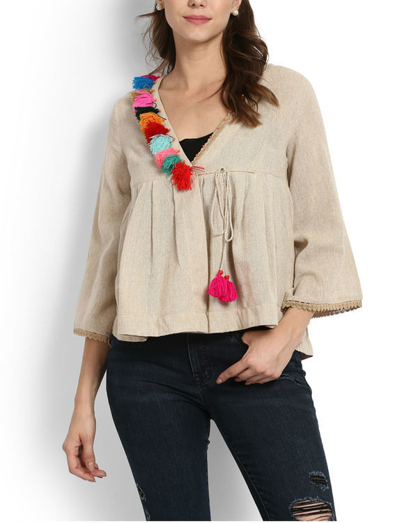 Dhanak wrap top with tassels