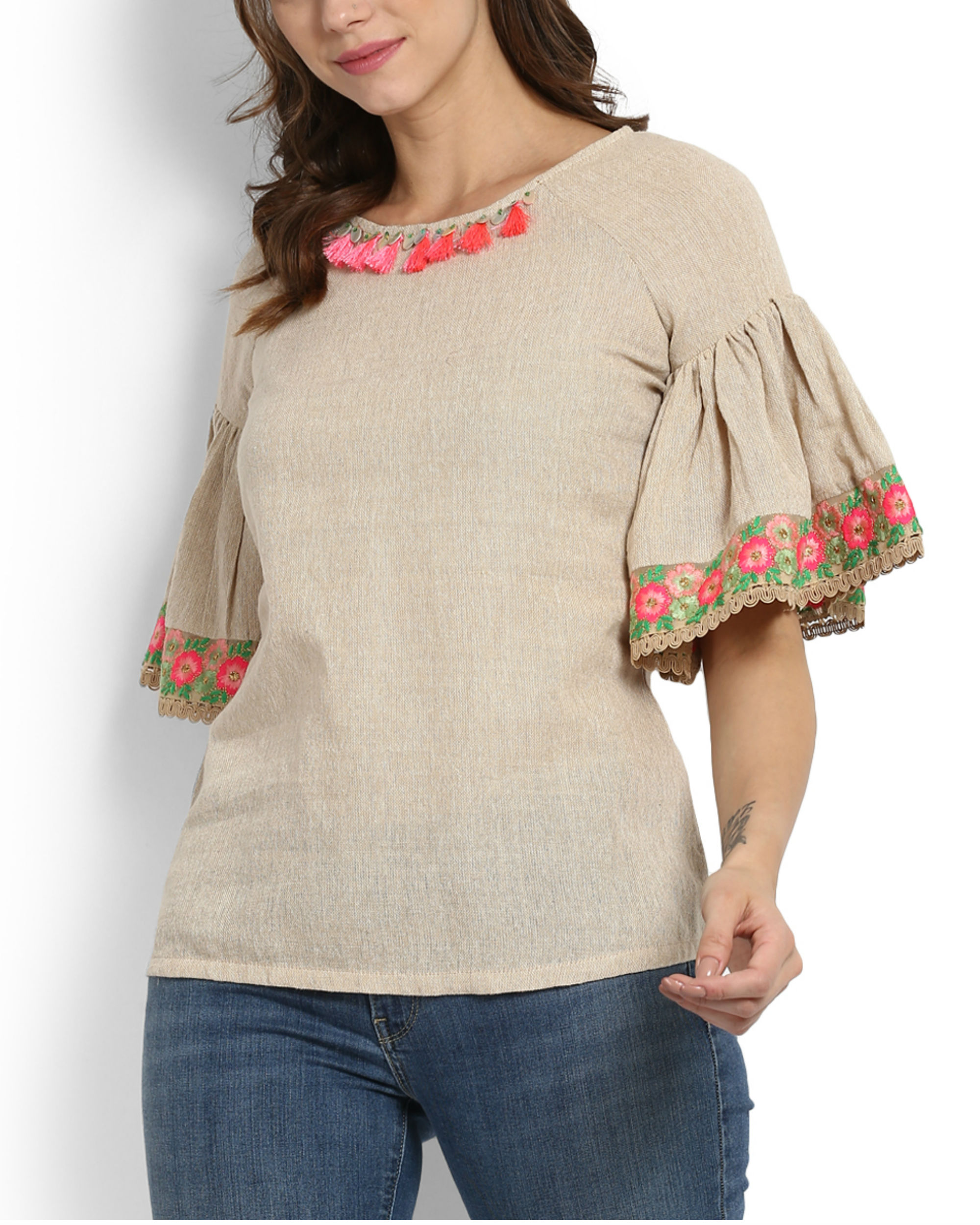 Dhanak ruffle sleeve embroidered top