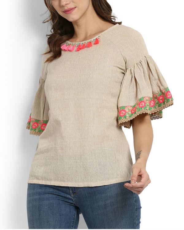 Dhanak ruffle sleeve embroidered top