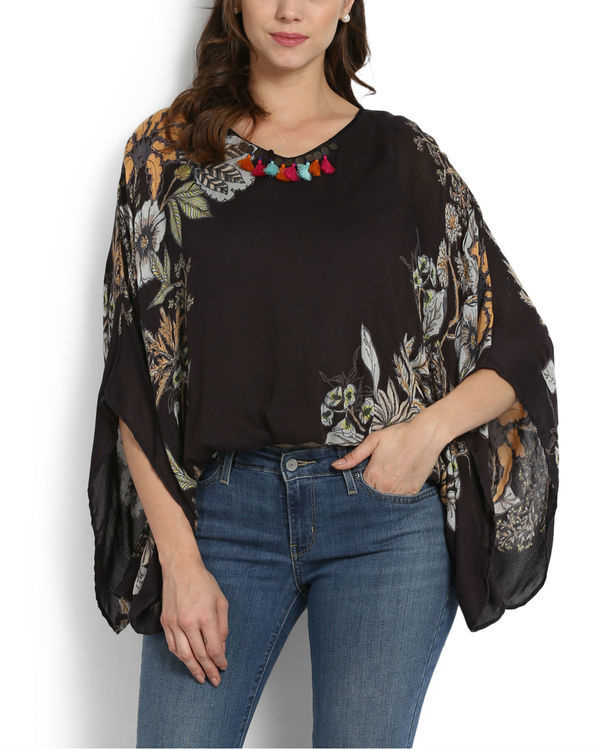 Midnight beanstalk poncho top with tassels