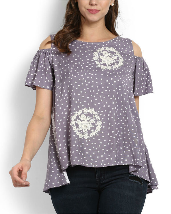 Dewdrop cold shoulder top with rose embroidery