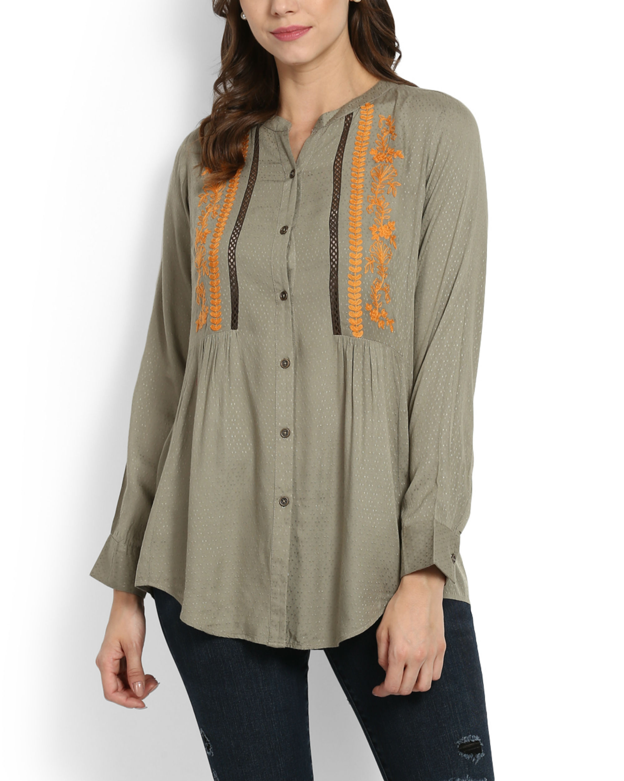 Khaki top with embroidery & lace