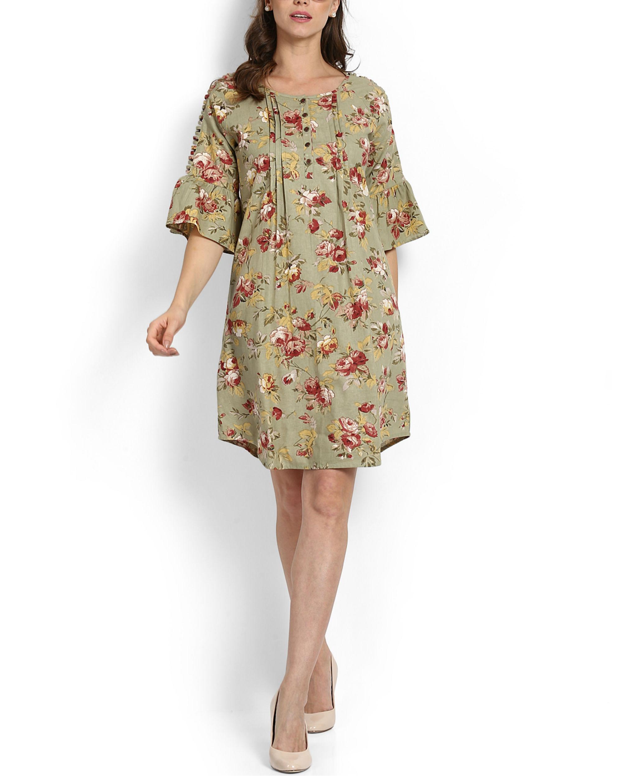 Sage green ruffle dress