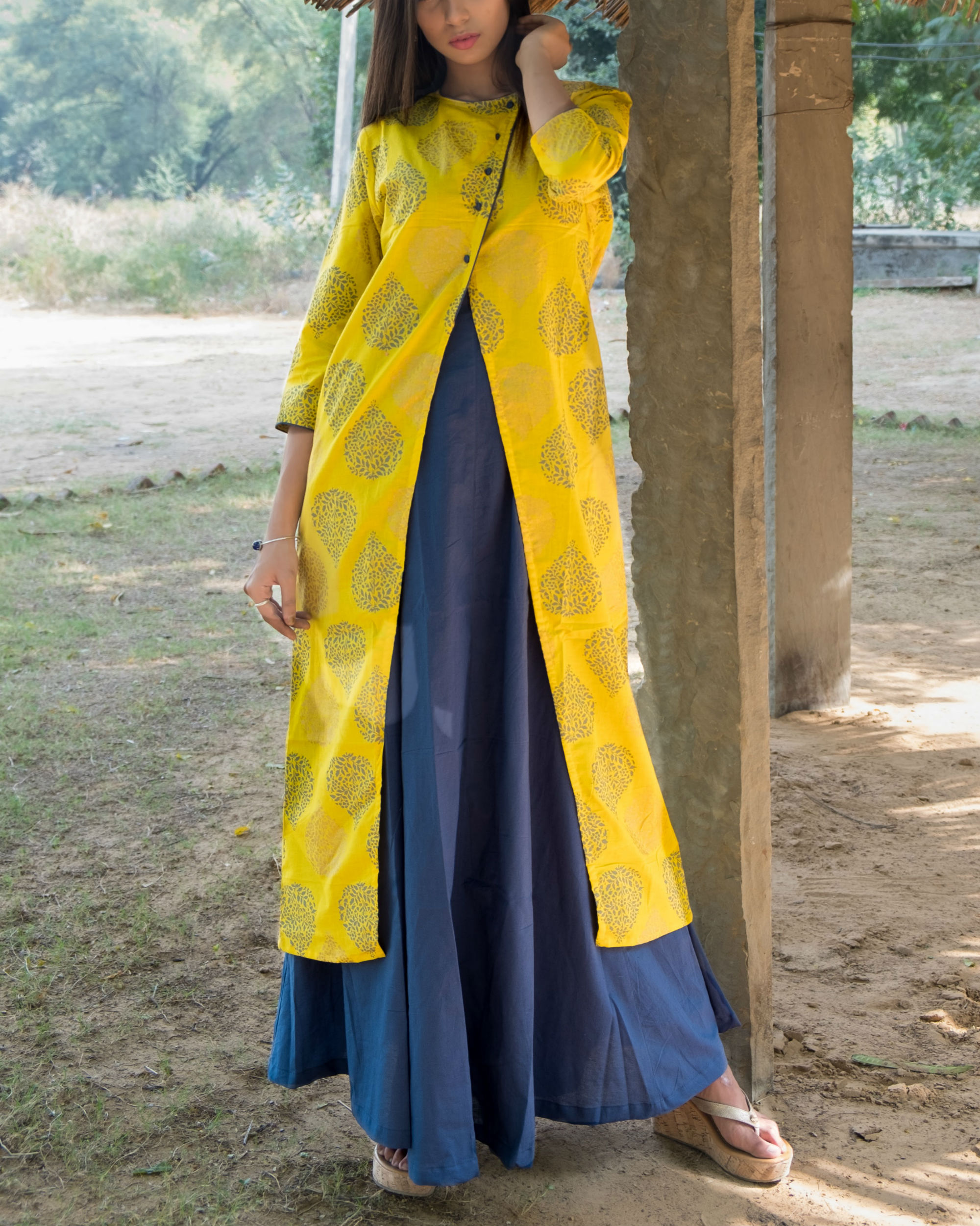 Blue and Yellow double layered dress