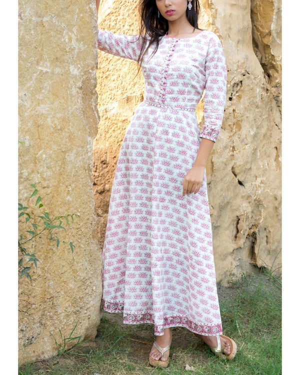 Lotus block printed long dress