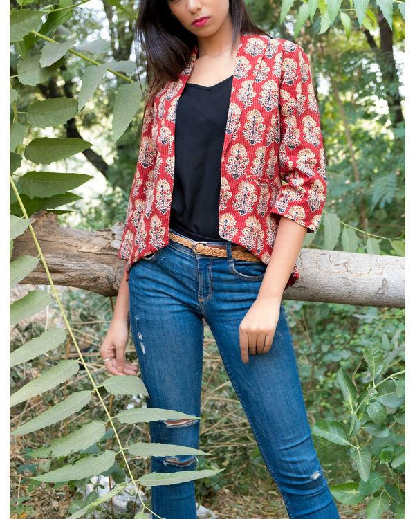 Maroon katha block print jacket