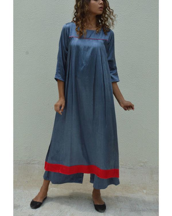Silver grey yoke pleated dress