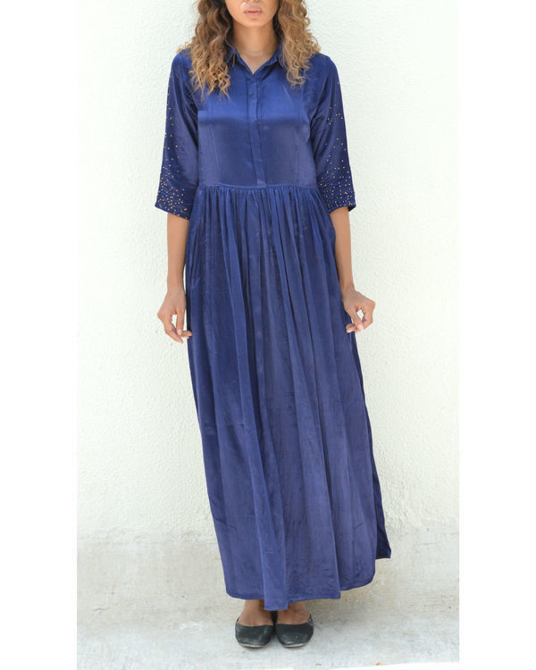 Indigo button down gathered dress