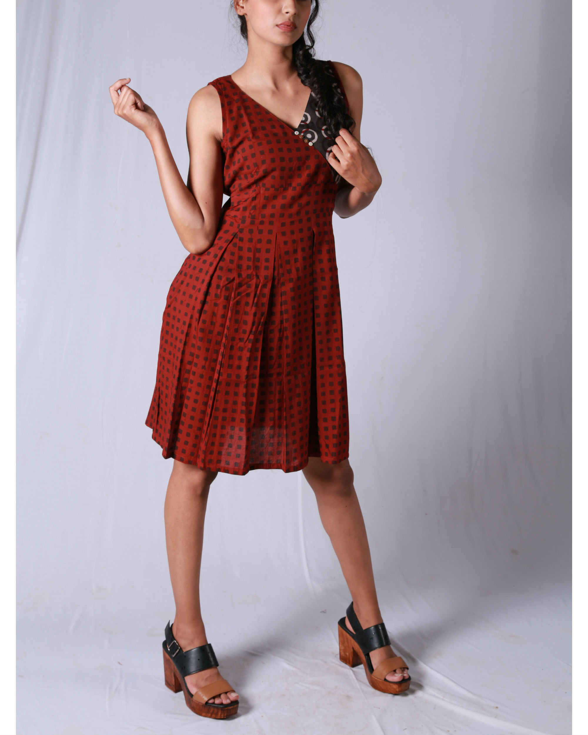 Maroon check angrakha dress