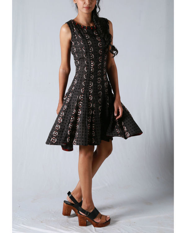 Tan flare high-low dress