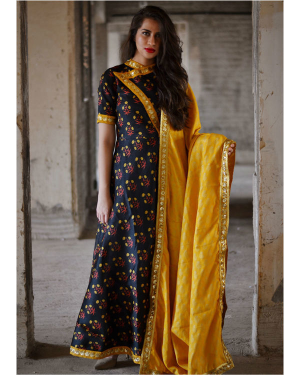 Black floral dress with yellow dupatta