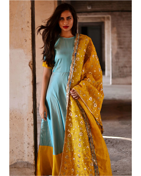 Blue and yellow dress with dupatta
