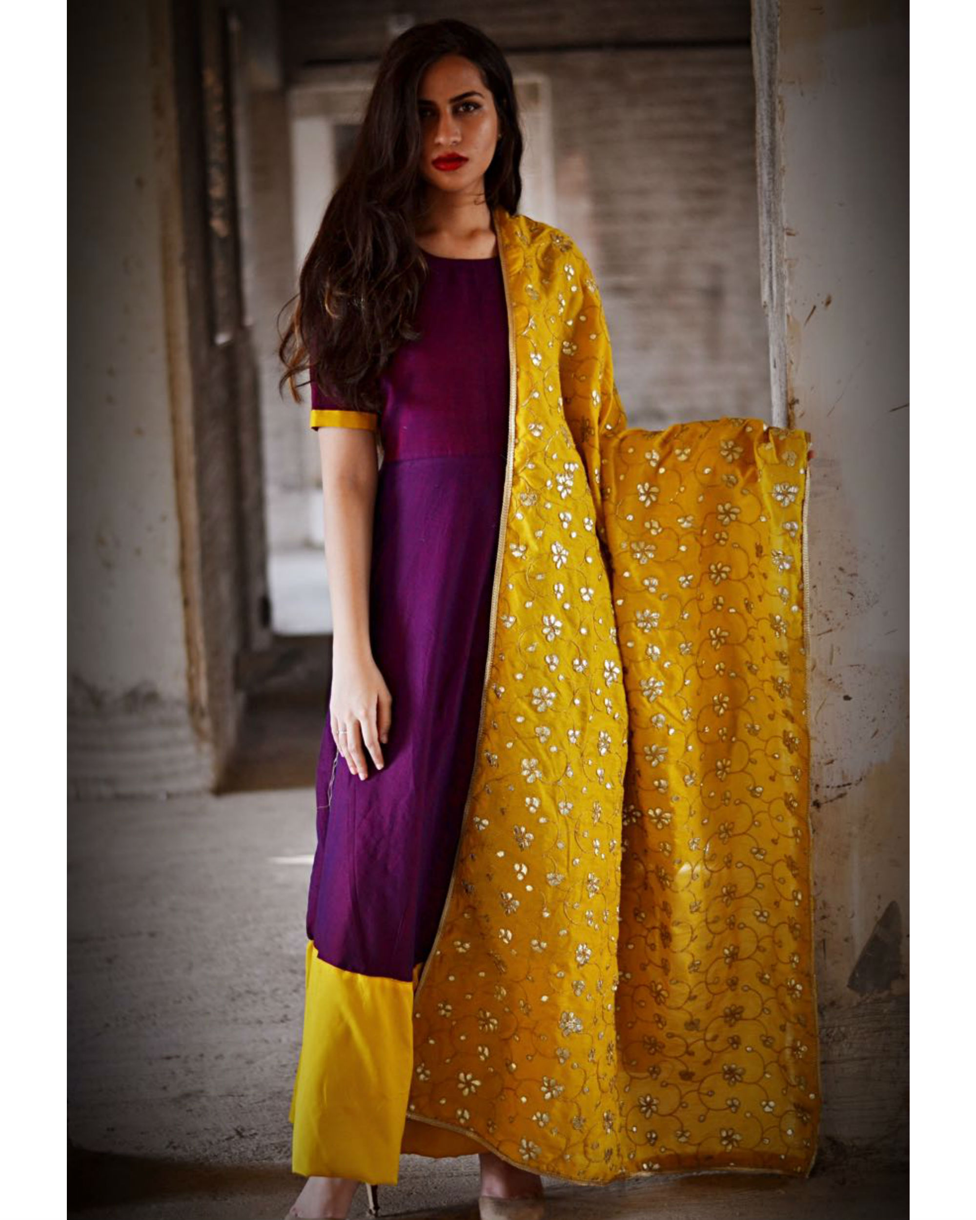 Purple and yellow dress with dupatta