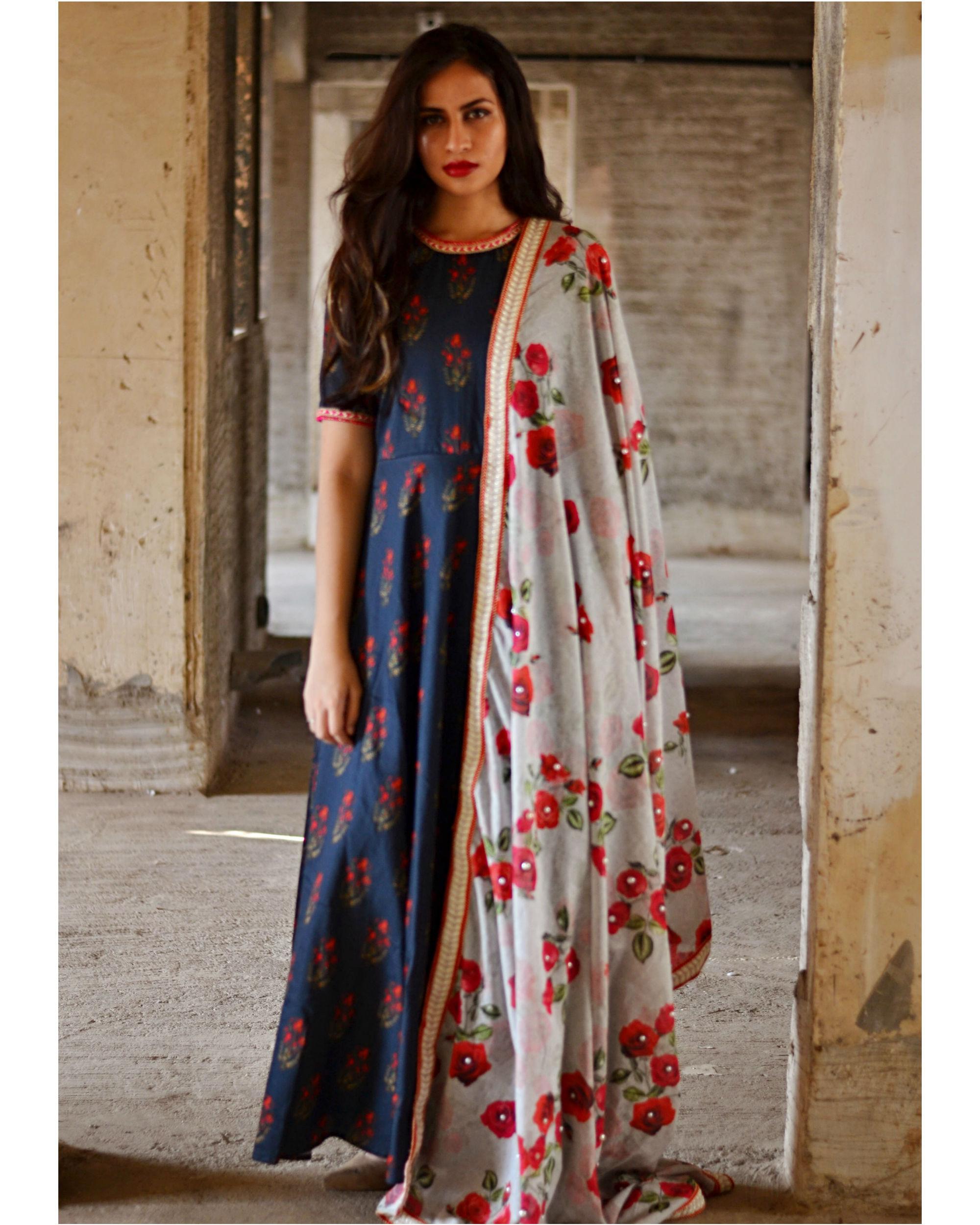 Navy blue rose garden dress and dupatta set