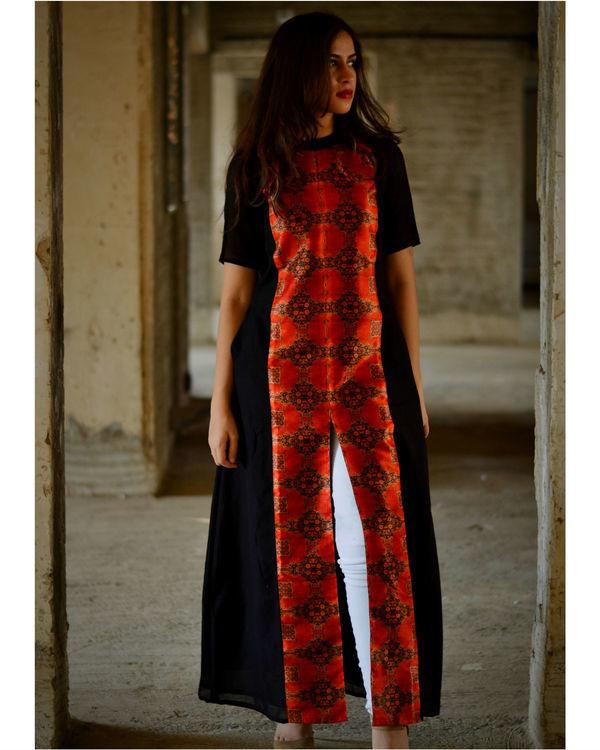 Wine and black slit maxi dress