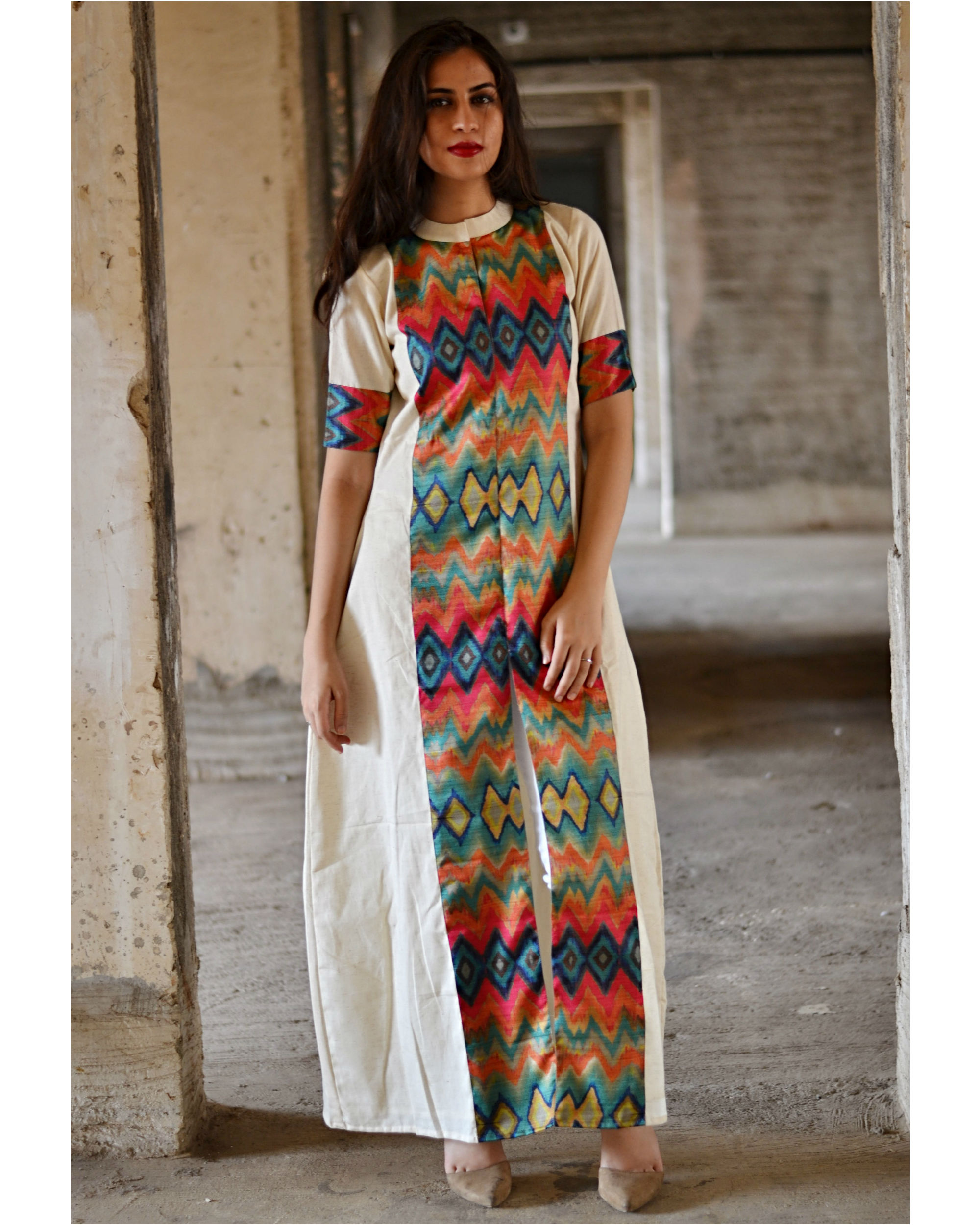Multi color zig zag slit maxi dress