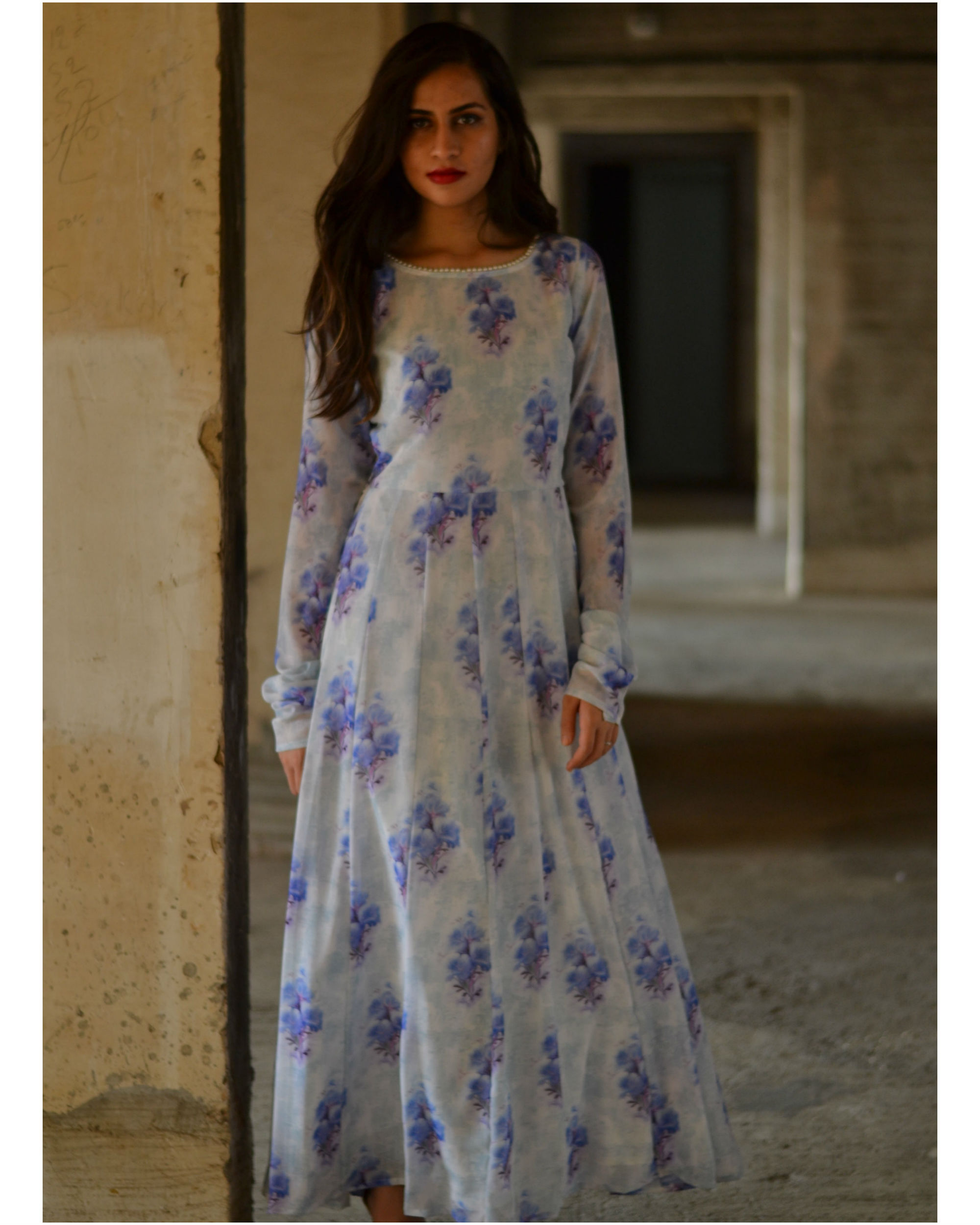 quality first hot sale new selection Purple and white floral maxi dress