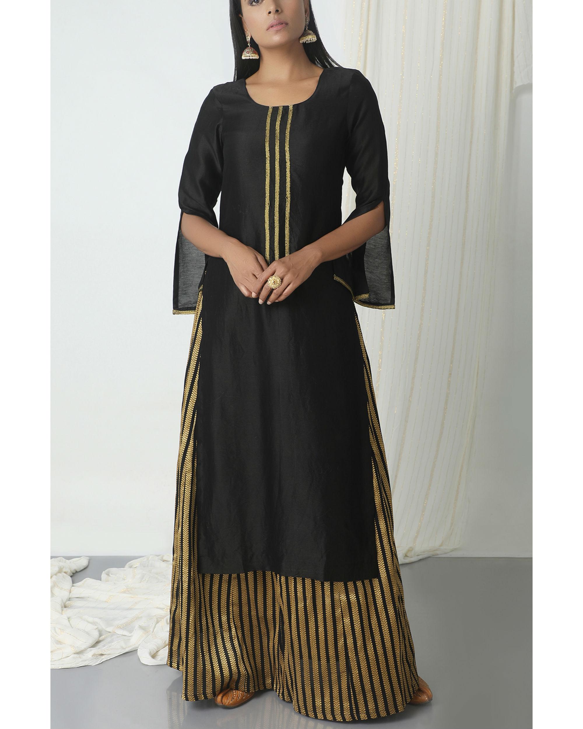 Gold and black skirt kurta set