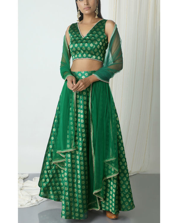 Green brocade booti lehenga set