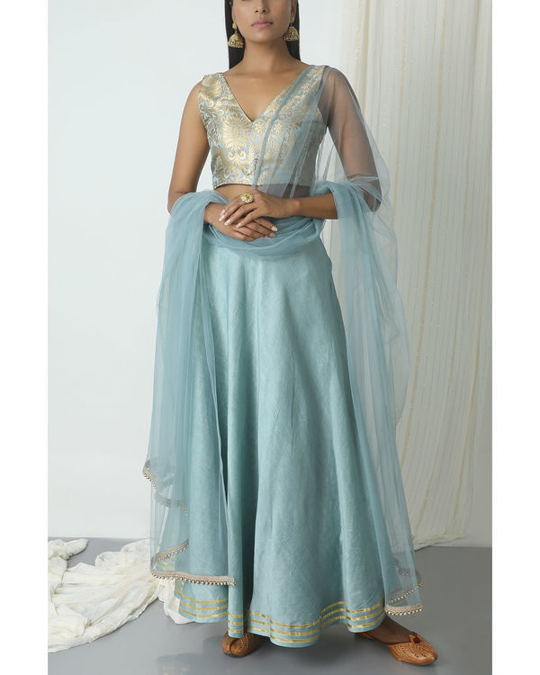 Grey gota chanderi brocade lehenga set