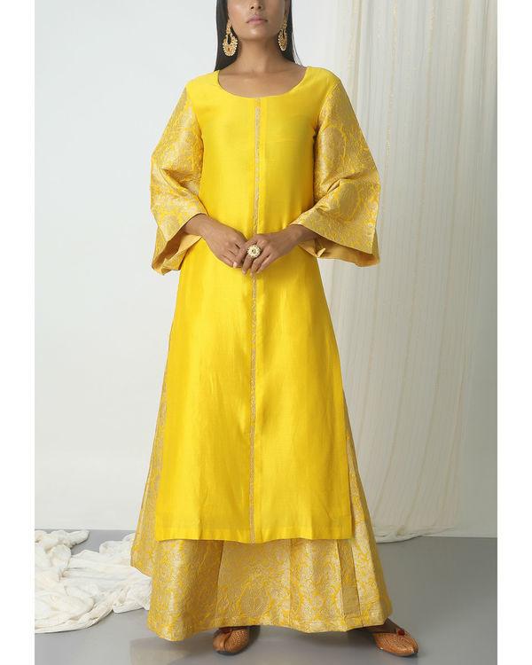 Yellow brocade chanderi skirt-kurta set