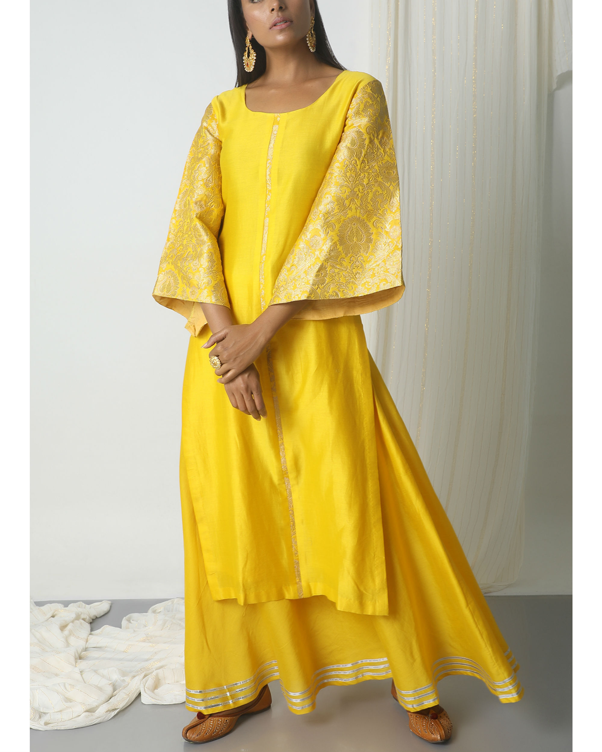 dc857a7435 Yellow chanderi gota skirt-kurta set by trueBrowns | The Secret Label