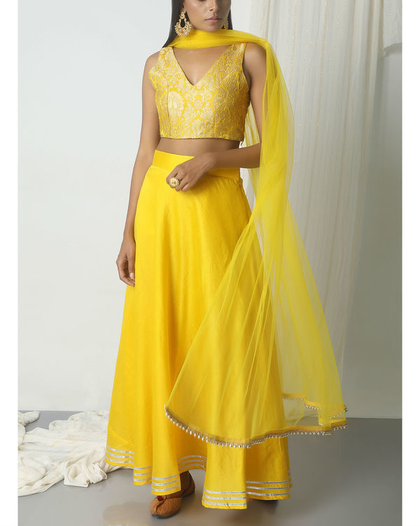 Yellow gota chanderi brocade lehenga set