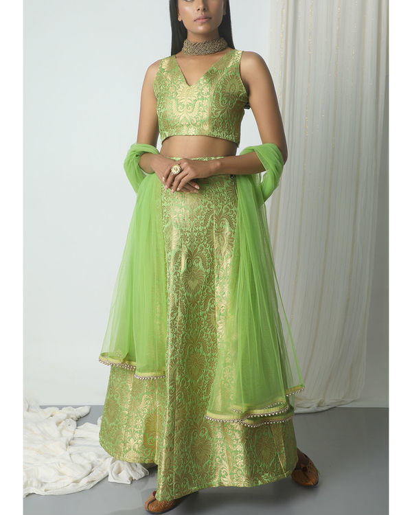 Chartreuse green brocade lehenga set