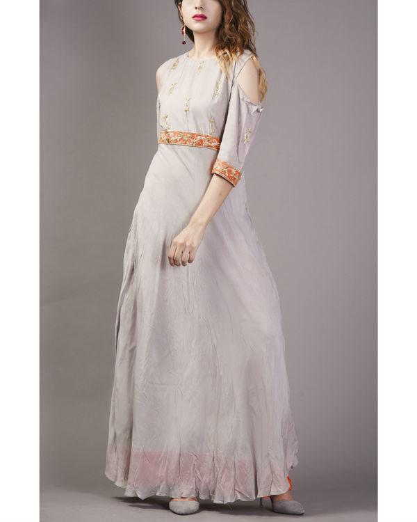 Grey embroidered cold shoulder dress