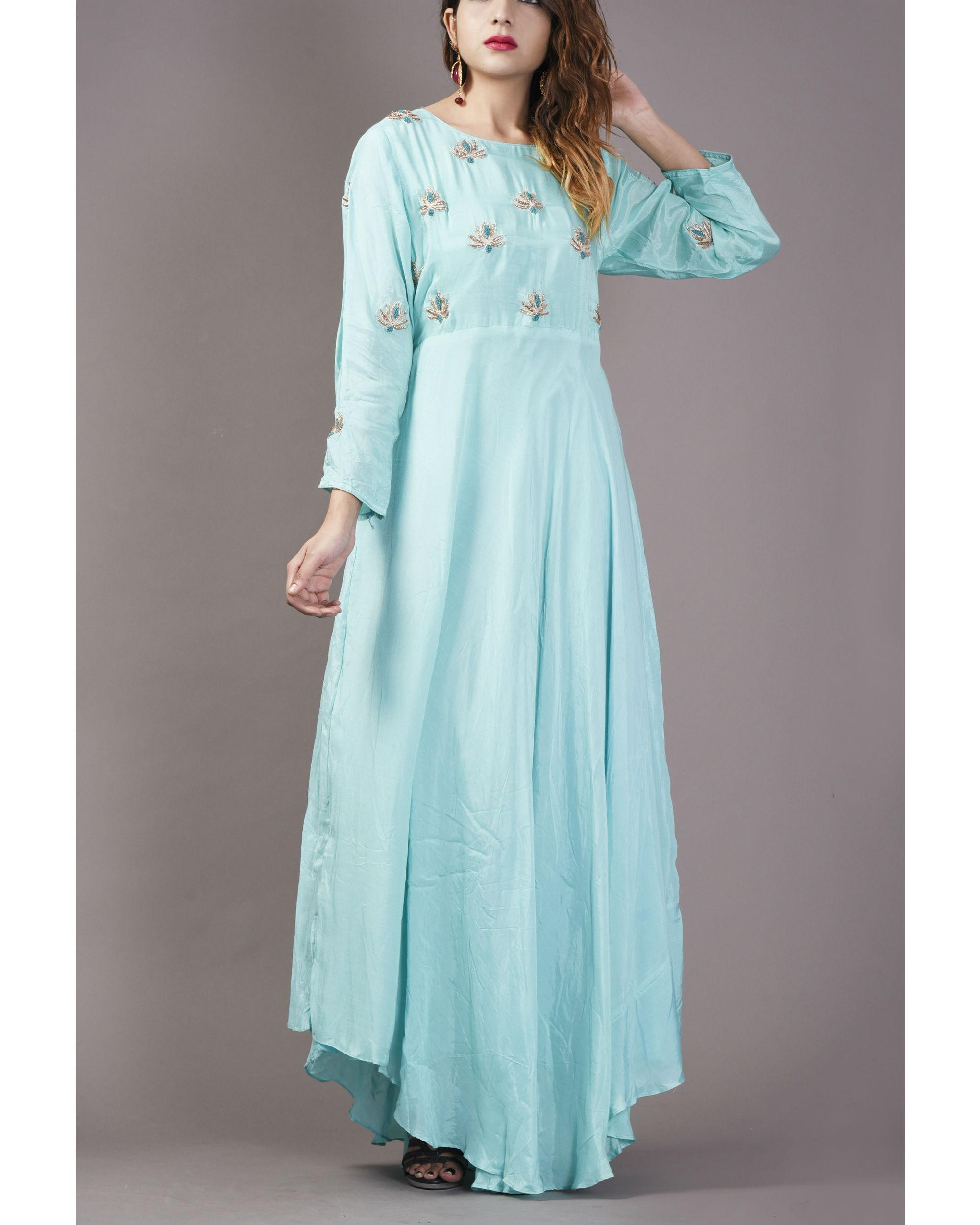 Aqua asymmetrical  long flare dress