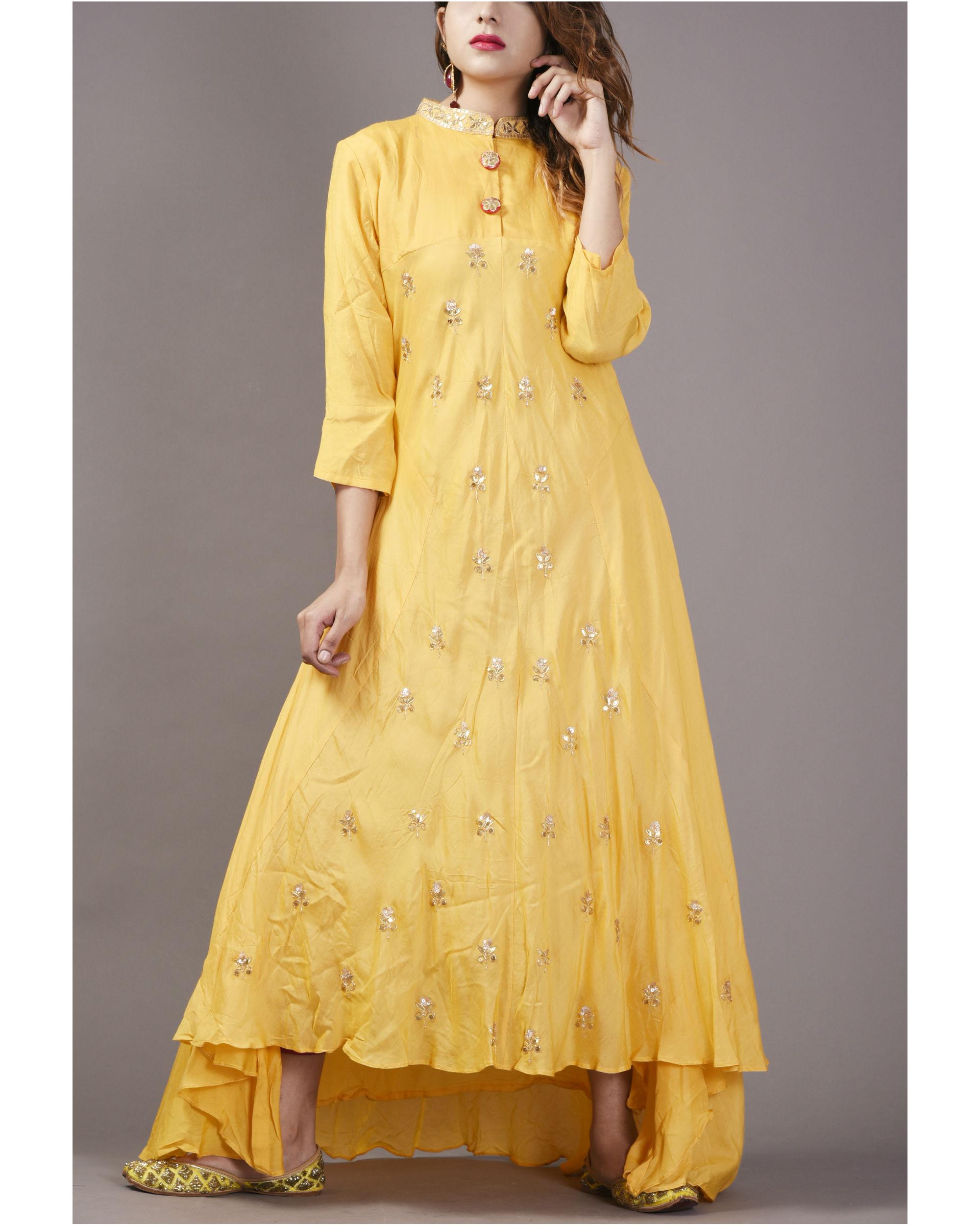 High low butterscotch dress