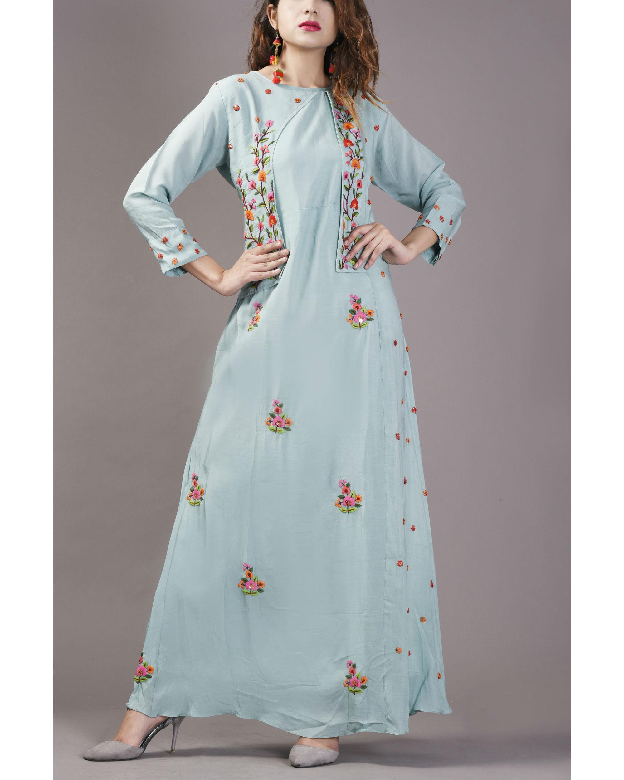 Sky blue floral cape gown