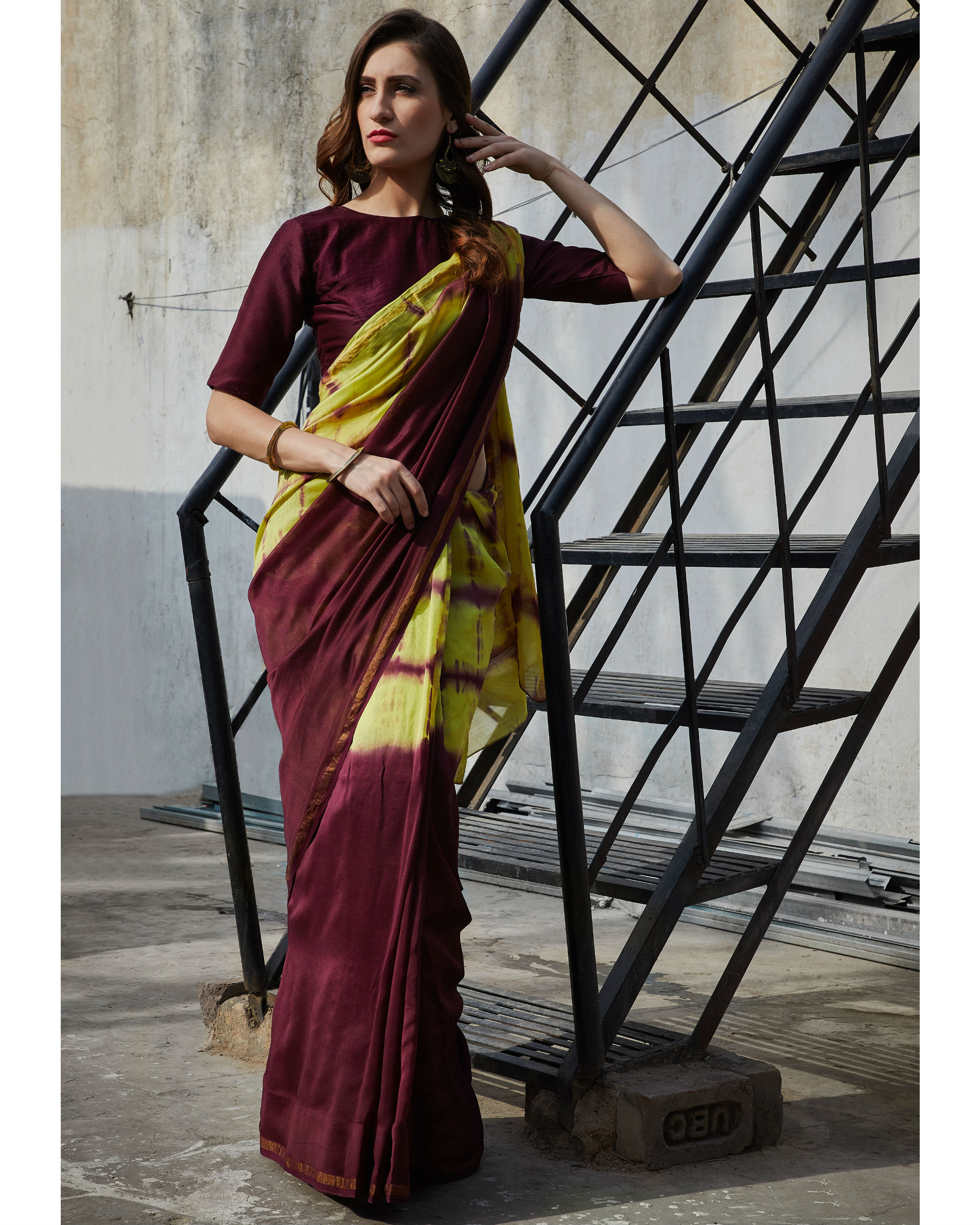 Plum and yellow chanderi  sari