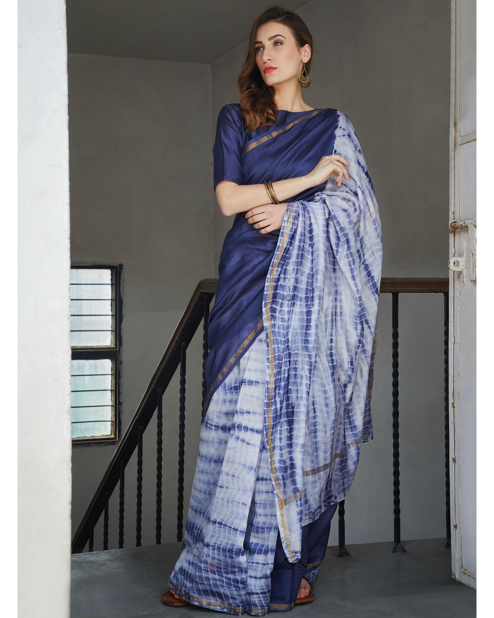 Persian blue and white chanderi  sari