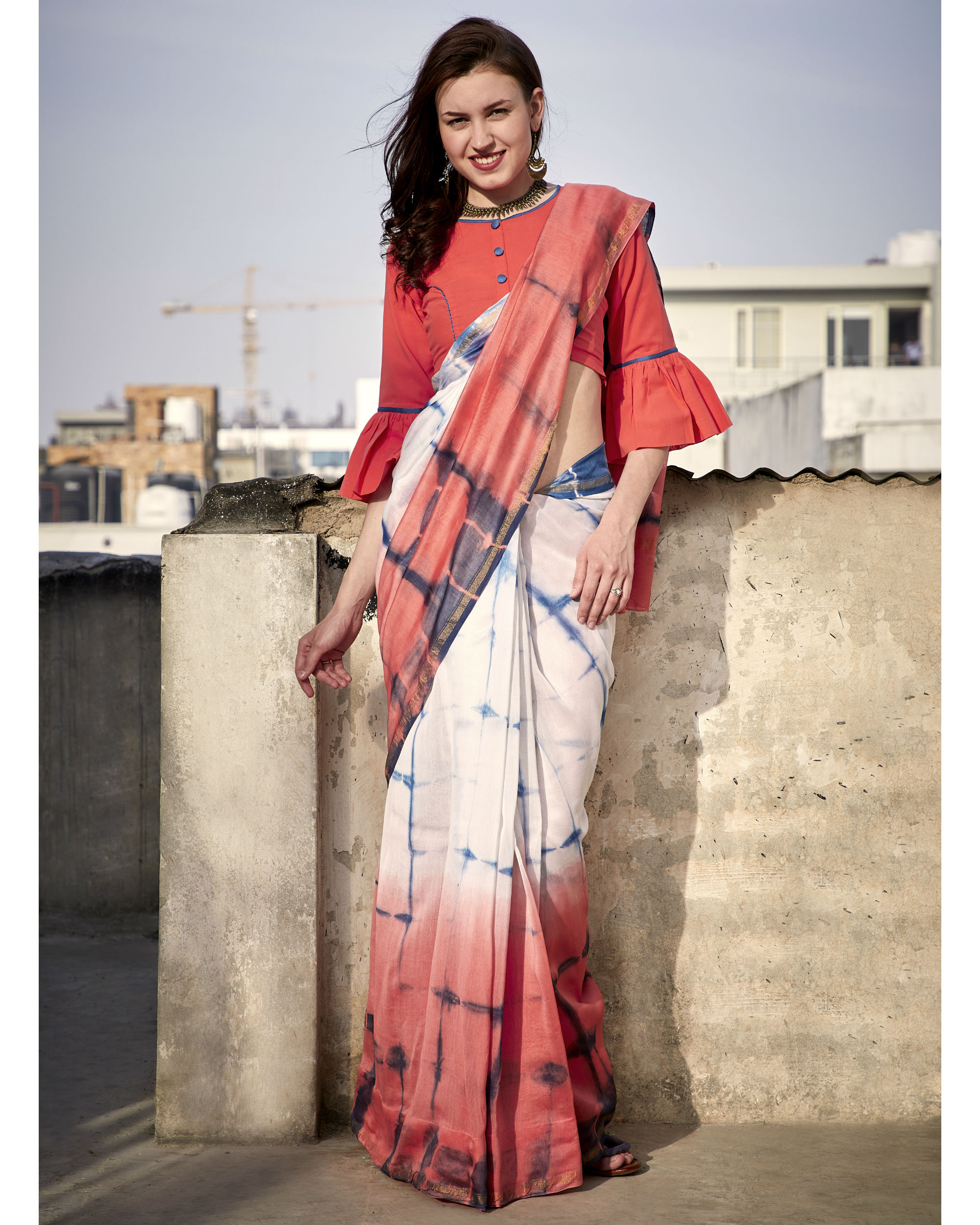 Peach and coral chanderi sari